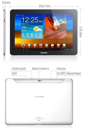 Samsung Galaxy Tab 10.1 storlek och portar